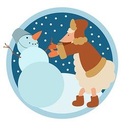 Sheep and snowman vector image vector image