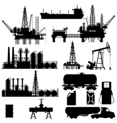 Silhouettes of oil idustry vector