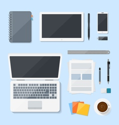 Top view computer laptop design on desk vector