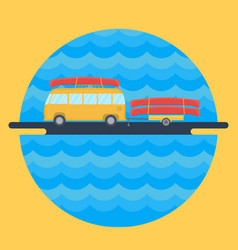 Yellow bus for traveling and camping with a vector