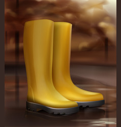 Yellow rubber boots vector