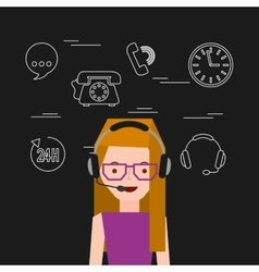 customer service flat icons vector image