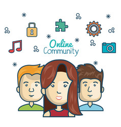 people community online concept with icons media vector image