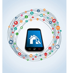 Real estate icons smart phone vector