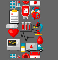 Seamless pattern with blood donation items vector