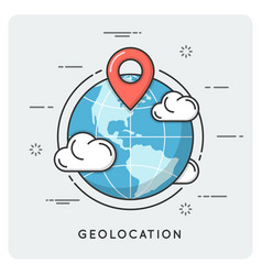 Geolocation and navigation thin line concept vector