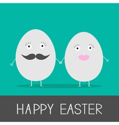 Egg easter couple with lips and mustaches vector