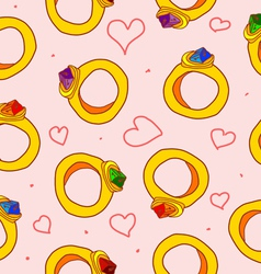 Seamless pattern with hearts and rings vector image