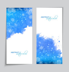 Christmas watercolor blue banners vector
