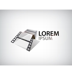 3d film strip tape logo vector image