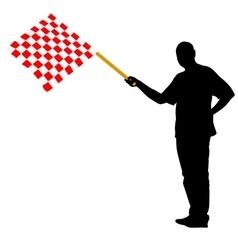 Man waving at the finish of the red white vector