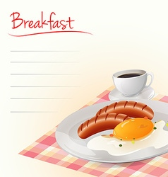 Breakfast with eggs and coffee vector