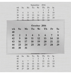 Calendar month for 2016 pages october vector