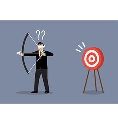 Blindfold businessman look for target in wrong vector