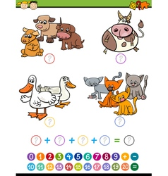 Cartoon math task for children vector