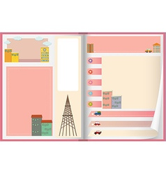 Paper design with buildings and cars vector
