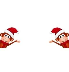 Christmas card with monkeys vector image