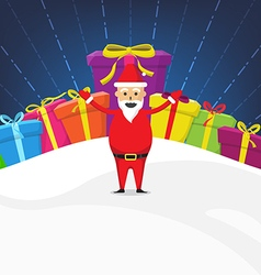 Santa claus with gift box christmas celebration vector