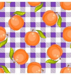 Tartan plaid with peaches seamless pattern vector