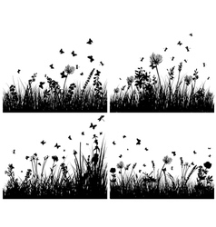 Grass silhouettes background set vector