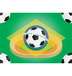 football over flag of Brazil vector image