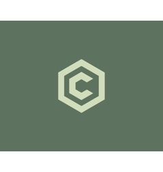 Abstract letter c logotype line hexagon vector