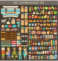 Big supermarket set vector image vector image