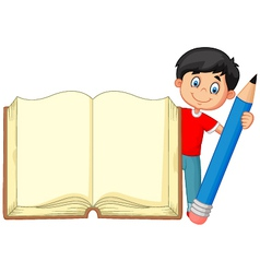 Cartoon boy holding giant book and pencil vector image vector image