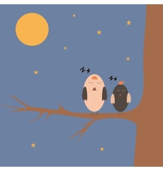 cartoon sparrows on the tree vector image
