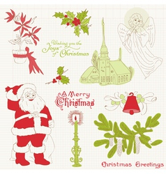 christmas vintage design elements vector image vector image