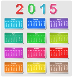 Colorful calendar for 2015 vector image