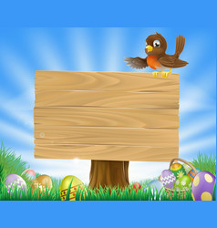 easter sign with bird and eggs vector image