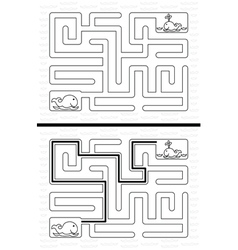 Easy whale maze vector image vector image