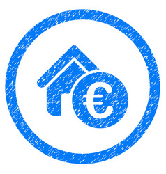 Euro home rent rounded icon rubber stamp vector