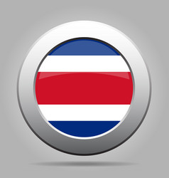 flag of costa rica shiny metal gray round button vector image