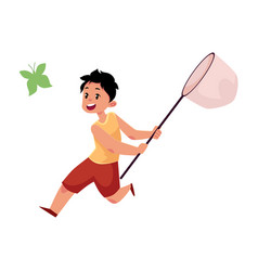 Flat boy catching butterfly with net vector
