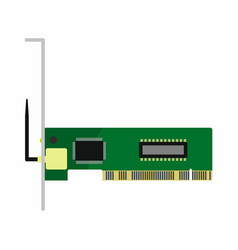 Flat hardware network wireless card icon for vector