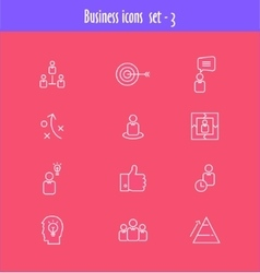 Flat line icons set of business meeting vector image