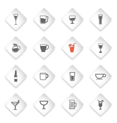 Glasses and cups simply icons vector image vector image