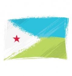 grunge Djibouti flag vector image vector image