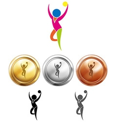 Gymnastics with ball icon and sport medals vector image vector image
