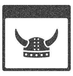Horned ancient helmet calendar page grainy texture vector
