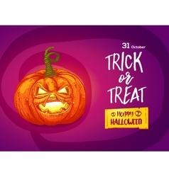 Jack pumpkin with lettering card vector image vector image