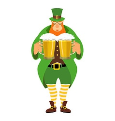 Leprechaun and beer Good leprechaun keeps two mugs vector image vector image