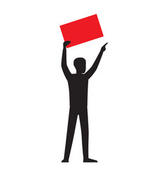 man silhouette with red paper sheet vector image vector image