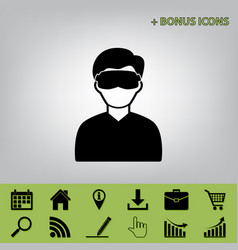 Man with sleeping mask sign black icon at vector