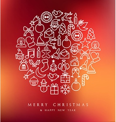 Merry Christmas circle icons set card vector image