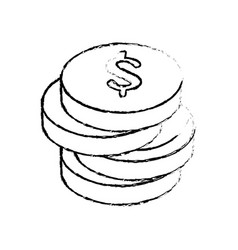 Money coins piled up vector