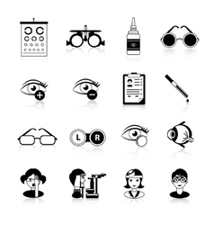 Ophthalmology black white icons set vector