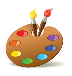 Palette and paintbrushes vector image vector image